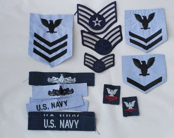 Navy Patches Lot of 14 Vintage FREE DOMESTIC SHIPPING