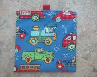 Vehicles - Reusable Snack Bag, Reusable Sandwich Bag, Washable Treat Bag with tabs, trucks, cars, trains, fire trucks