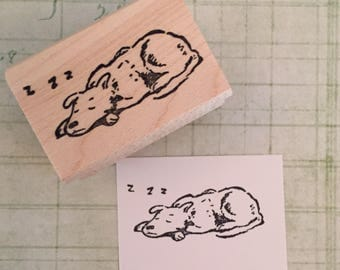 Sleeping Dog Rubber Stamp