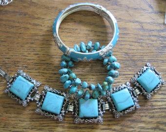 LOT 3 Vintage to Modern Cuff Chain & Bangle Bracelets Chunky Turquoise Retro Aqua Tile Hinged Bangle Enamel Rhinestones
