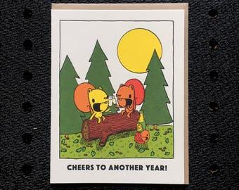 anniversary card, cheers card, cute anniversary card, squirrel card, screen printed card