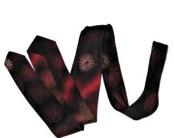 60s Narrow Tie, Red Skinny Tie ,Skinny Red Black Tie ,1960s Rockabilly Tie, Red Black Silver Skinny Necktie
