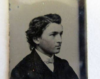 antique miniature gem tintype photo - 1800s, silhouette of a young man