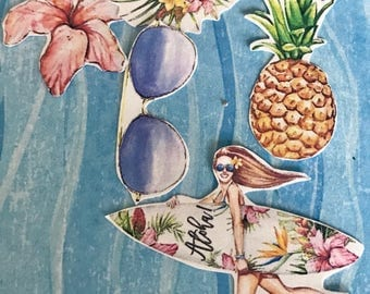 Huge lot of 18 Aloha Diva Blond decorative planner stickers. Will fit most planner