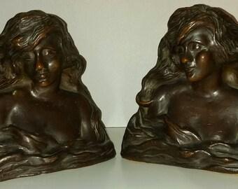 Beautiful Vintage Figural Women Bookends Pair Art Deco Nouveau
