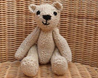"""8"""" handmade teddy bear. cream teddy bear. ecru teddy bear. vintage style handmade teddy bear. hand knitted teddy bear in 100% wool"""