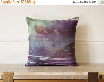 """ON SALE Violet ombre pillow. The valley of the fireflies / Poetic 18"""" Square decorative pillow  linen..  /  FRAGMENTS"""