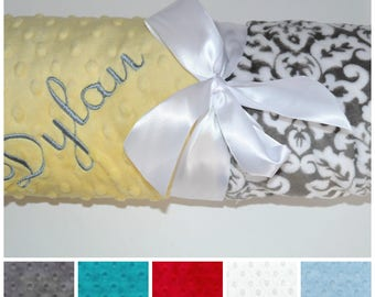 Monogrammed Minky Baby Blanket, Charcoal Gray and White Damask, Personalized custom blanket with name Newborn Gift yellow. Teal, Red, Blue