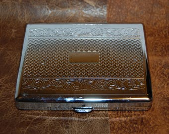 Chrome Plated Cigarette Case  Machine Stamped Chrome Plated Cigarette Case Spring Loaded Cigarette Holder