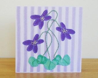 Violet Flower Greetings Card, Recycled Card, Flower Art Card
