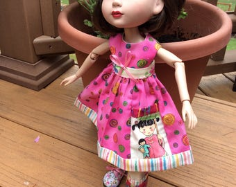 """Little girl and dolly pocket, 14"""" doll clothes, Tonner, Patience, 3 pc, ooak"""