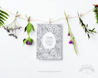 Grow in Grace, Floral Coloring Sheet, hand drawn and hand written, Home decor, 8x10 Instant Download by Little Miss Missy