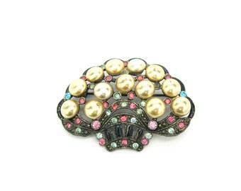Art Deco Brooch. Glass Pearls, Black Enamel Flower Basket, Pastel Rhinestones. Milgrained Pot Metal. NE Glass Works. Vintage 1930's Jewelry.