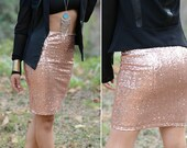 Blush Pencil Sequin Skirt - Stretchy, beautiful knee length skirt (S,M,L,XL)  Ships asap!