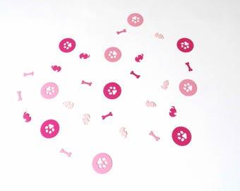 Scalloped Circle Paw Print Confetti, valentine mix confetti, dog theme birthday party decor, paws and bones confetti
