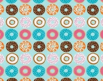 Suzy's Minis 2 Donuts in Aqua, Suzy Ultman, Robert Kaufman Fabrics, 100% Cotton Fabric, ASD-17217-70 AQUA