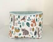 Fabric Storage Basket, Nursery Storage, Nappy Basket, Woodland Animals
