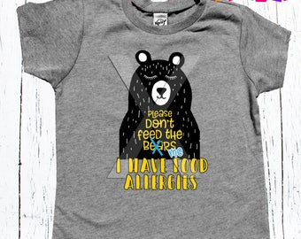 "Children's Allergy Alert Tee Shirt ""Please don't feed me"" unisex tee shirt boys and girls Allergy Alert tee"