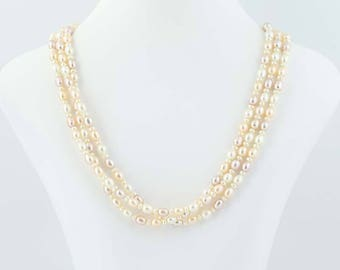 "Pink Freshwater Pearl Bead Necklace Sterling Silver 3-Strand 18.5"" Statement G0041"