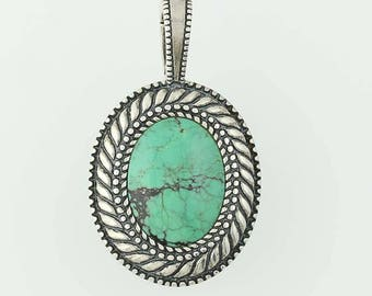 Green Turquoise Statement Pendant Sterling Silver G0969