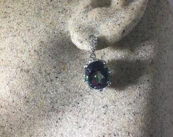 Nemesis Vintage Handmade 925 Sterling Silver Deep Blue Mystic Topaz earrings