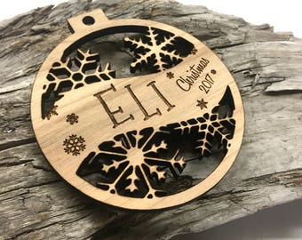 Eli - Customizable Baby's First Christmas Ornament - Engraved Birch Wood Ornament