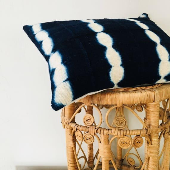 "Boho Indigo Tribal Pillow Cover 14""x18"" Lumbar Cushion Pillow Ethnic Bohemian African Tie Dye Motif Blue MudCloth Boho Pillow"