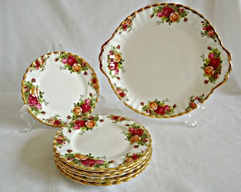 Royal Albert Cake Plate & 6 Tea Plates Old Country Roses 1962