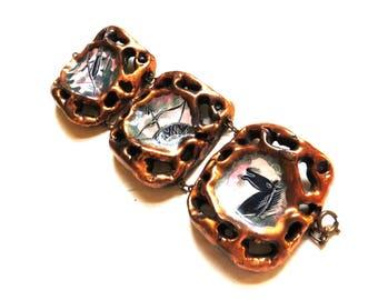 Brutalist Jewelry, Chunky Statement Bracelet, Horse Bracelet, Horse Jewelry, Wide Cuff, Vintage Brutalist Bracelet, Hand Painted Jewelry