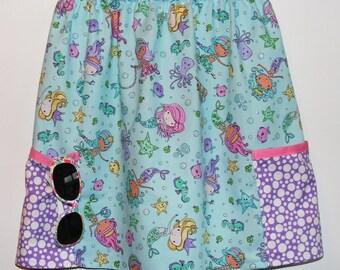 Mermaid beachcomber #1  2 pocket skirt  (2T, 3T, 4T, 5T, 6, 7, 8, 10)