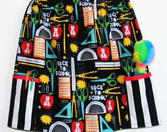 Black Back to School  Skirt with 2 pockets     ( 2T, 3T, 4T, 5, 6, 7, 8, 10)