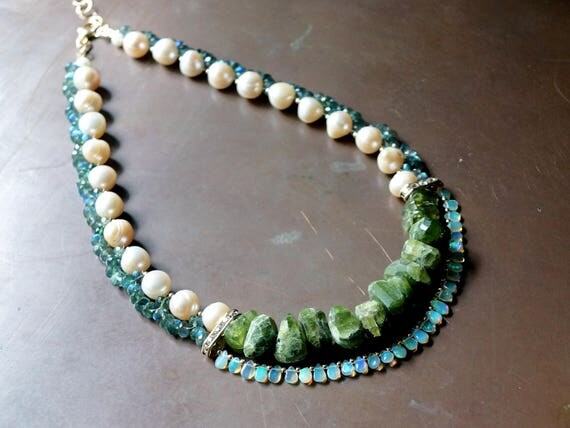 Emerald green chunky necklace - Vessonite, opal, labradorite, and freshwater pearl necklace
