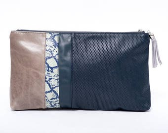 Evening grey and embossed blue leather bag /chic snake printed leather clutch bag /leather pouche/ charm/ waxed grey leather purse/gift idea