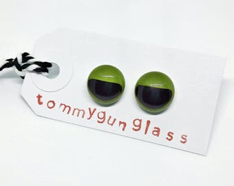 Green and Maroon Glass Stud Earrings