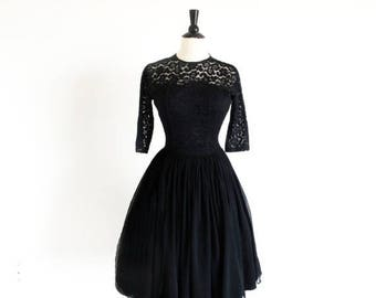1/2 Off SALE Vintage 50s Black Chiffon and Lace Dress, Old Hollywood Classic, Grace Kelly Semi Formal