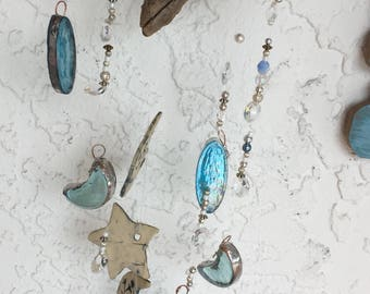 Pearlescent Crescent Moons Stained Glass Ceramic Stars ~  Crystals Beads Driftwood Wind chime
