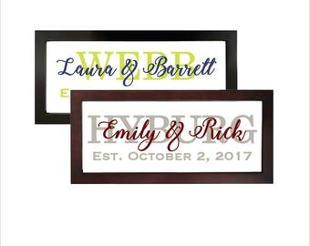 Family Name Wall Art Floating Wood Picture Frame Wall Tabletop Wedding Date Established Gift Custom Customized Personalized Last Name