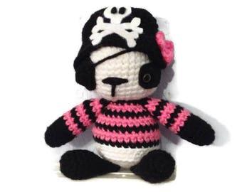 Crocheted Girl Pirate Panda - Made To Order - Stuffed Animal - Panda Amigurumi
