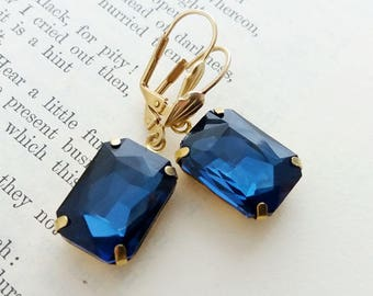 Sapphire Blue Brass Earrings. Square Faceted Brass Earrings. Octagon Brass Earrings. Vintage Earrings. Boho Earrings. Bohemian Jewelry