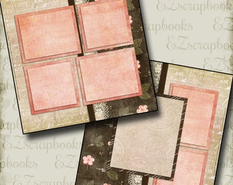 PRETTY - 2 Premade Scrapbook Pages - EZ Layout 268