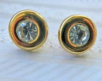 vintage earrings KJL earrings round crystal earrings wedding or bridal earrings gold Kenneth J Lane Earrings 1980's jewelry
