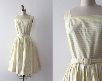 vintage 1950s dress // 50s yellow striped day dress with belt