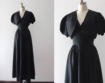 vintage 1930s gown // 30s black acetate evening gown with jacket