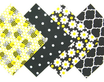 "48 Cotton Flannel 6""x6"" Pre Cut Quilt Square Kit in a Bundle of Bright Bumble Bees, Black and White, Dots, Daisies and Trellis Prints"