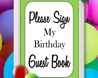 Guest Book Sign, Guest Book Table Sign, Birthday Party Sign, Printable Guest Book Sign, Kids Birthday Guest Book Sign, Instant Download
