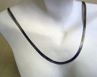 Sterling Silver Cobra 18 Inch Chain Necklace, Eighth Inch Wide, Vintage