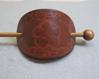 Vintage Embossed Leather and Stick Ponytail Holder