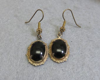 Vintage Black Glass Gothic Pierced Earrings, Victorian Look Mourning Pierced Earrings