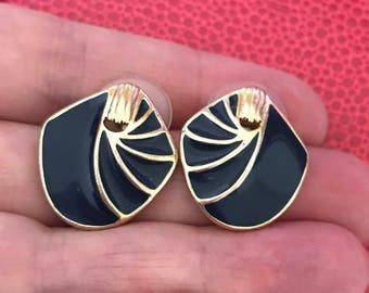 Trifari Black and Gold Tone Enamel Pierced Sudd earrings