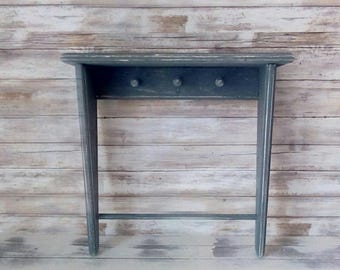 Gray Wooden Shelf, Painted Shelf with Pegs, Bathroom, Beach Cottage, French Farmhouse, Shabby Wall Decor, French Market, Savannah's Cottage